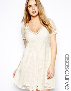 ASOS CURVE Lace Skater Dress With Pleat Detail