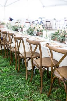 Reception Dinner Table Decor Long Table Wood Chairs Tan White Greenery | Rio-Oso-Country-Sacramento-Wedding-Photographer-Chico-California-TréCreative