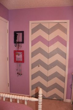 Chevron closet doors Teenage girl room redo