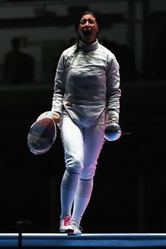 Yana Egorian of Russia celebrates during the Women's Sabre Team gold medal match between Russia and Ukraine on Day 8 of the Rio 2016 Olympic Games at Carioca Arena 3 on August 13, 2016 in Rio de Janeiro, Brazil.