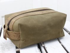 Leather and Canvas Washbag