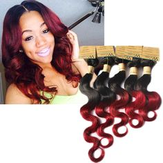 50g Body Wave 1b/RED# 100% Virgin Unprocessed Human Hair Brazilian Remy Wig #WIGISS #HairExtension