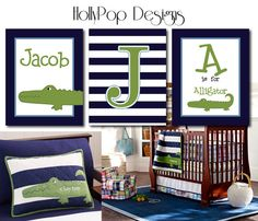 Alligator Madras Digital Art Prints Pottery Barn Baby Blue Green Boy Nursery Bedding Idea Personalized Bedroom Playroom wall decor design on Etsy, $32.00