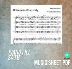 """Bohemian Rhapsody - Queen Music Sheet SATB PDF File """"Bohemian Rhapsody"""" is a song by the British rock band Queen . Thunderbolt And Lightning, Nobody Loves Me, Never Let Me Go, Up To The Sky, British Rock, Letting Go Of Him, Progressive Rock, Make You Cry, Hard Rock"""
