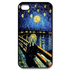 apple iphone case Van Gogh Tardis Doctor who Starry night screaming man art painting  iphone 4, 4s or 5 case ( black, white or clear case ). $16.50, via Etsy.