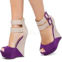 Perfect Contrast Colour Suede Wedge Sandals      http://www.shoespie.com