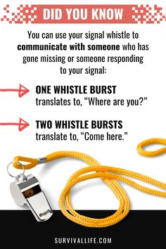 Knowing how to whistle when in distress can make the difference between life and death. #whistle #signaling #survival #preparedness #survivallife Survival Life, Survival Tools, Need To Know, Did You Know, Outdoor Shelters, In Distress, Life And Death, Has Gone, Outdoor Survival