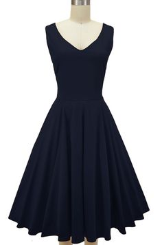 v-neck misses knee length minnie pinup sun dress - navy $54