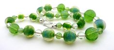 Czech Opal Glass Necklace. Hand rolled with silver clasp. All handmade by Kipkalinka. 89€