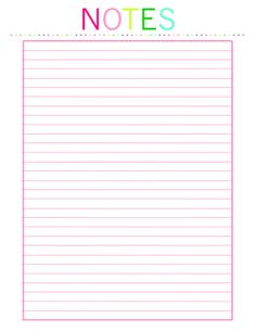 Notes Printable INSTANT DOWNLOAD by TheOrderlyHome on Etsy, $2.50