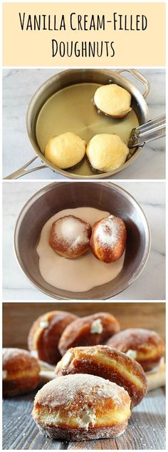 Vanilla Cream-FIlled Doughnuts ~ made with biscuit dough!