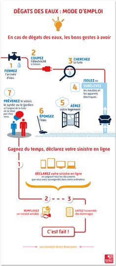 Les bons gestes à avoir en cas de dégât des eaux en 1 infographie.
