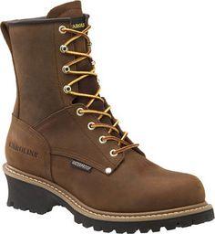 "Men's Carolina 8"" Plain Non-Steel Toe Logger - Dark Brown"