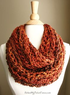 BEACHCOMBER INFINITY SCARF  - Warm, soft & stylish scarf rich in texture - Camp Fire Orange 13 x 58
