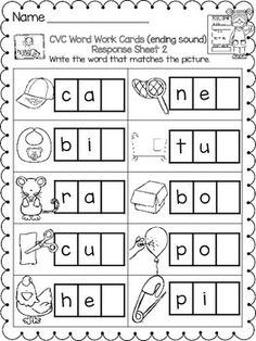 CVC Ending Sounds Word Work Activity Cards & Student Response Sheets