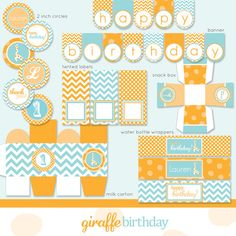 orange + aqua chevron: printables from Frog Prince Paperie