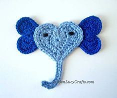 This adorable crochet Elephant applique is made from hearts. To make this Elephant applique, you need to crochet hearts according to the instructions and then sew them together in the shape of the animal! Crochet Ladybug, Crochet Sheep, Crochet Butterfly, Crochet Unicorn, Crochet Animals, Irish Crochet, Crochet Flowers, Crochet Hearts, Crochet Stitch