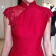 #closeup #qipao #teadress with #laceapplique for Grace by #timetakentomakeadress