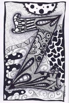 Zentangle Letter Z Zebra Letters name bunting by ForeverTangles, £3.50