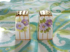 Vintage Nippon Mini Salt and Pepper Shakers Floral | eBay