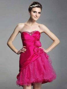 A-line Sweetheart Taffeta Short/Mini Sleeveless Flower(s) Prom Dresses