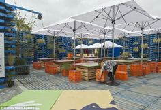 Getting back on its feet: The Gap Filler Summer Pallet Pavilion) has replaced the Crowne Plaza Hotel which was flattened following the Chris...