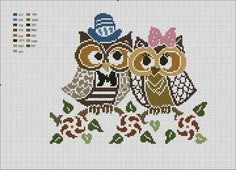 love-bird owls cross stitch marriage wedding