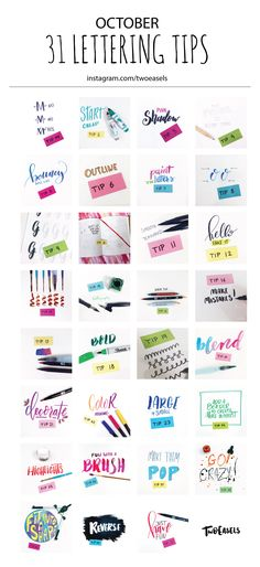 31 Days of lettering tips. All through October I posted one lettering tip. Try them out, get creative and experiment. I use Tombow brush pens, Pentel aqua brushes, regular brushes, paint, ink and more.