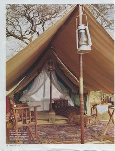 Canvas canopy makes covered 'porch' extension off tent.
