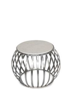 Bernado Silver & Marble Side Table  -59cm x 46cm