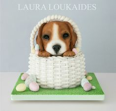 Ernie the Easter Puppy - Cake By Laura Loukaides www.facebook.com/LauraLoukaidesCakes