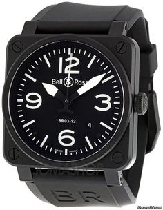 Bell & Ross Aviation Black Dial 42MM Automatic Mens Watch BR03-92-CB