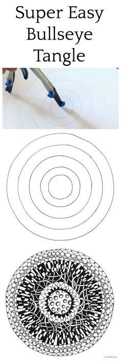 Super Easy Zentangle project- using a bullseye drawing