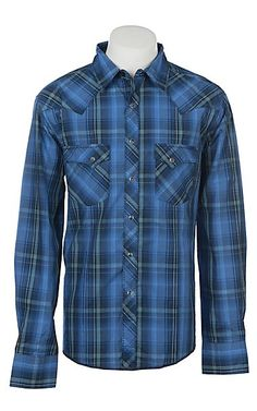 d7ef52cf Wrangler Men's Blue Plaid Long Sleeve Western Shirt | Cavender's White  Plaid, Blue Plaid,