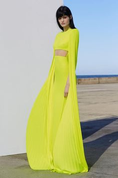 See the entire Alex Perry resort 2019 collection. Alex Perry, Timeless Fashion, High Fashion, Crop Top Designs, Runway Fashion, Fashion Outfits, Gala Dresses, Yellow Fashion, Mellow Yellow