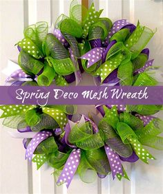How to Make a Spring Deco Mesh Wreath. Bring spring to your home with this easy tutorial with video and supply list. #spring #wreath #DIY