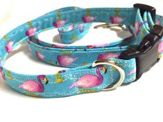 Dog Collar and leash setflamingo collar and by DazzleDoggieDesigns