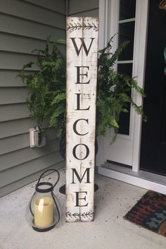 Welcome Sign Painted on Reclaimed Pallet Wood by SignsfromthePines on Etsy…