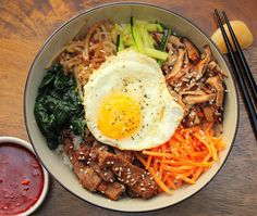 This Authentic Bibimbap is Korean comfort food at it's best. Omit the seasoned Korean beef and you've got a great vegetarian dish. Really good!