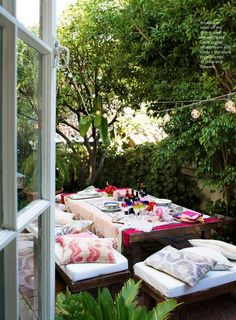 cozy outdoor table setting