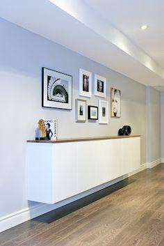 Gallery wall, mid century modern, credenza, gallery wall over credenza, fauxdenza