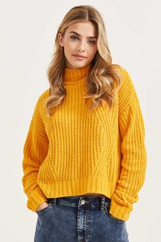 Chenille Mock Neck Sweater online + in-stores Trendy Fall Outfits, Warm Outfits, Cute Outfits, Yellow Outfits, Yellow Sweater Outfit, Knit Sweater Outfit, Orange Sweaters, Cute Sweaters, Sweaters For Women