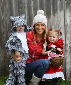 Family Halloween Costumes. Brother and sister as, Red Riding Hood, and The Big Bad Wolf, mom as the woodsman. Homemade Costumes. TheRaggedWren.blogspot.com
