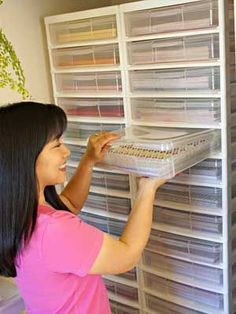 Use Clear Plastic Paper Containers To Make Finding Patterns And Colors Easy using this system. plastic storage bins come in 12″ x 12″ or 8.5″ x 11″, are called Protect N Store, can be found on-line at Joann's.