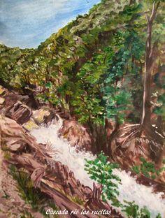 GALERIA PALOMO MARIA: CASCADA RIO LAS VUELTAS Patagonia, River, Painting, Outdoor, Landscape Paintings, Waterfalls, Argentina, Outdoors, Painting Art