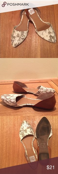 Faux snakeskin leather flats Super cute and hardly worn. Genuine leather Dolce Vita Shoes Flats & Loafers