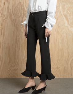 Black Ruffled Flared Crop Pants