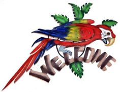 Macaw Welcome Sign