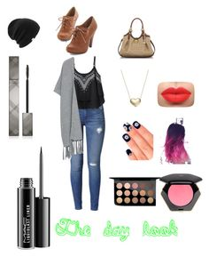 """The day look"" by alybob on Polyvore featuring Hudson Jeans, Violeta by Mango, Coal, Brahmin, Signature Gold, Elegant Touch, MAC Cosmetics, H&M and Burberry"