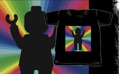 """""""Black Minifig in front of Rainbow by Customize My Minifig"""" Kids Clothes by ChilleeW 
